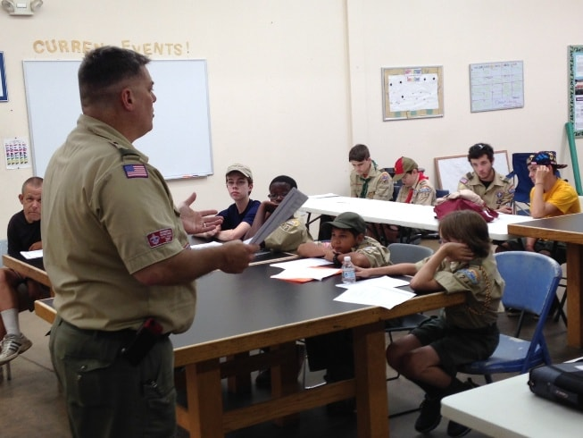Joe Colby addresses scouts during training