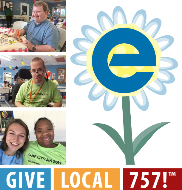 Eggleston campers and Give Local 757 logo