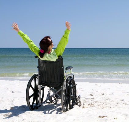 woman in a wheelchair at the beach