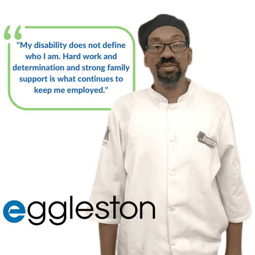 Kechone's quote My disability does not define who I am. Hard work and determination and strong family support is what continues to keep me employed.
